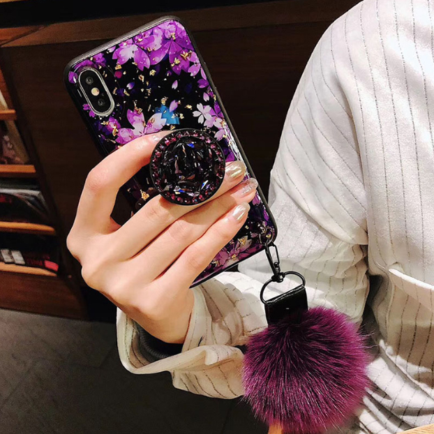 2019 New Fashion Romantic Cherry blossoms Diamond airbag bracket case for iPhone