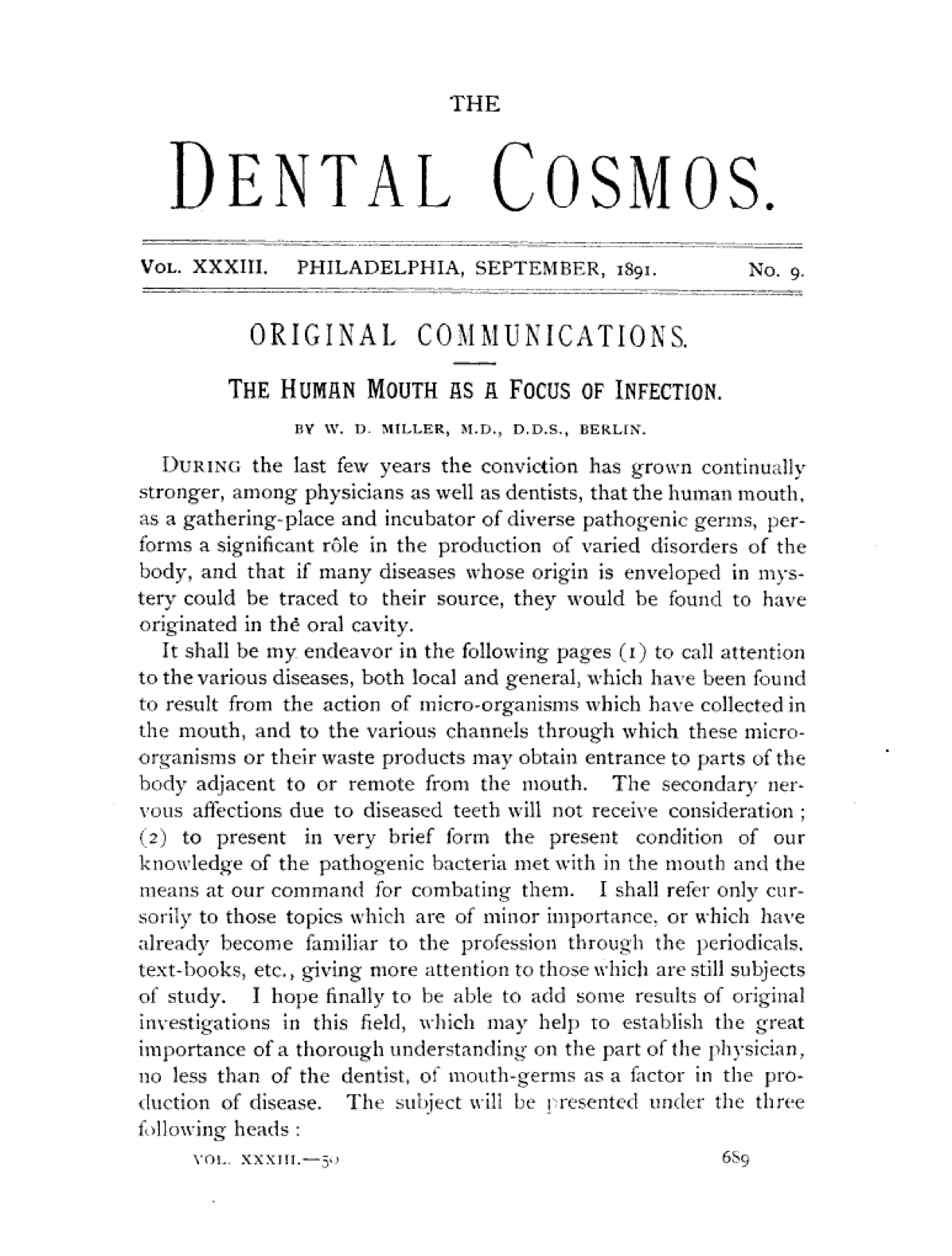 "W.D. Miller's ""The Human Mouth as a Focus of Infection"", 1891"