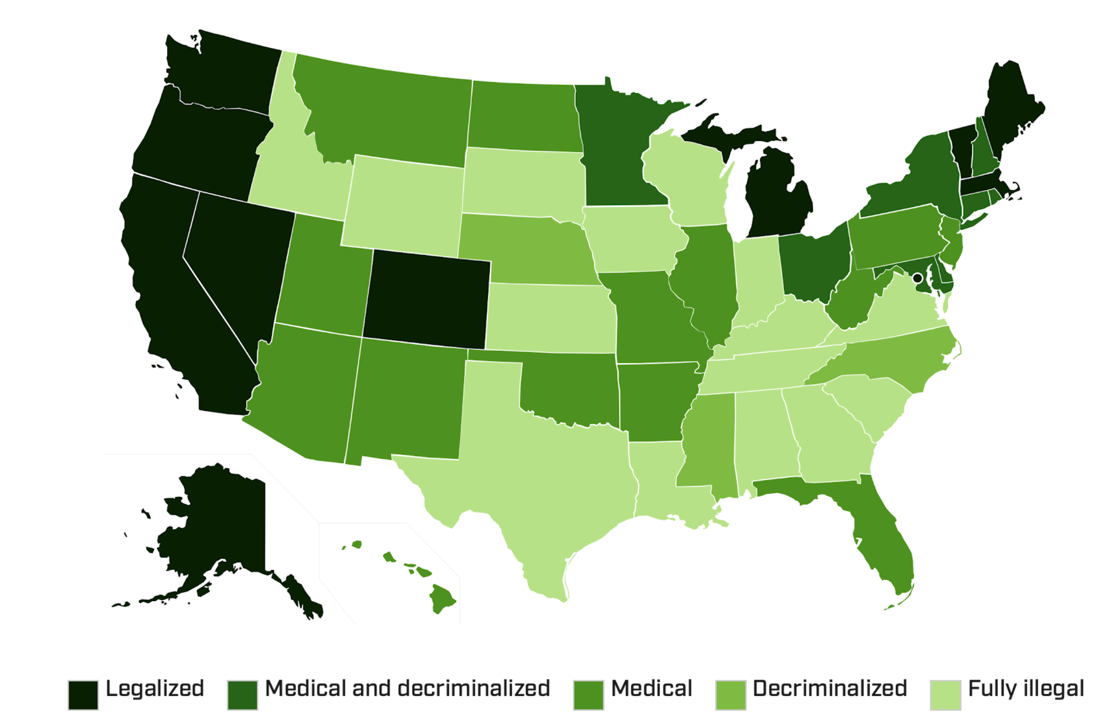 Figure 1: Status of marijuana laws by state as of March 2019