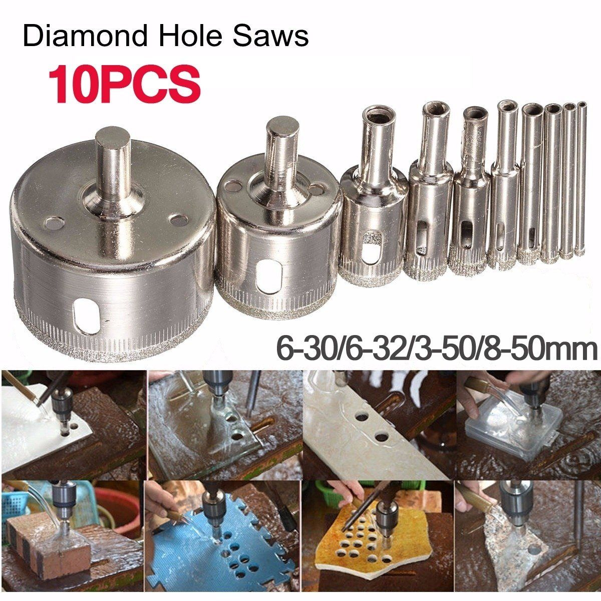 10Pcs Diamond Hole Saw Drill Bit Set