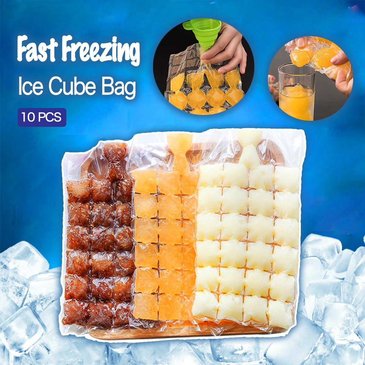 Fast Freezing Ice Cube Bag (10 Pcs)