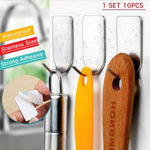 Strong Adhesive Waterproof Stainless Steel Hooks (10pcs)