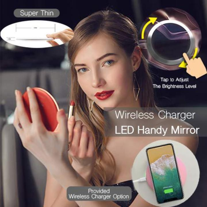 Wireless Charger LED Handy Mirror