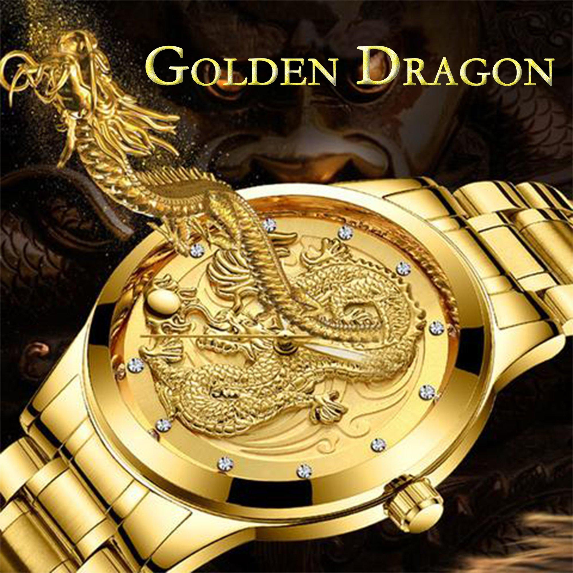 Golden Dragon Carved Automatic Mechanical Watch