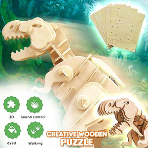 3D Walking Wooden Dino Puzzle