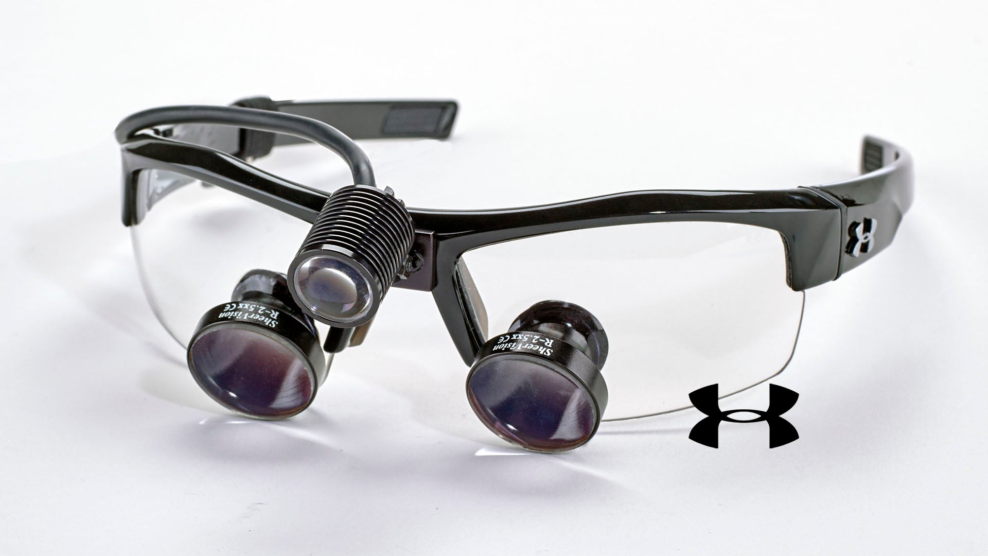 SheerVision Custom TTL Loupe with Portable Loupe-Light on Under Armour Igniter Frame