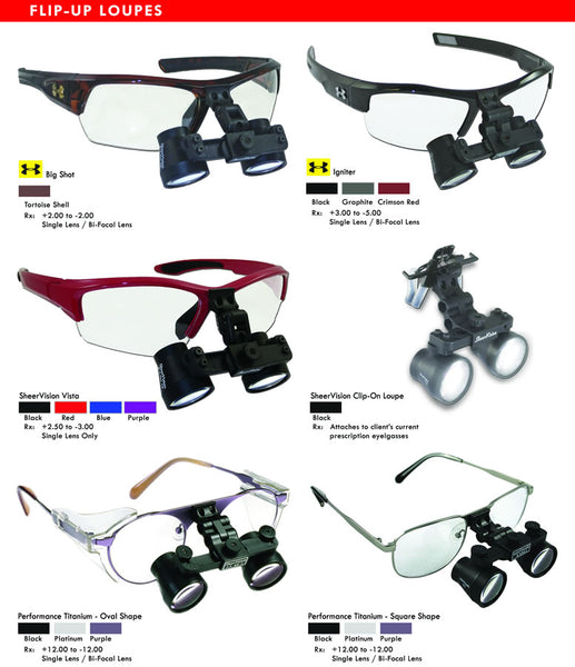 Flip-Up Surgical & Dental Loupe - Frame Mounting Options