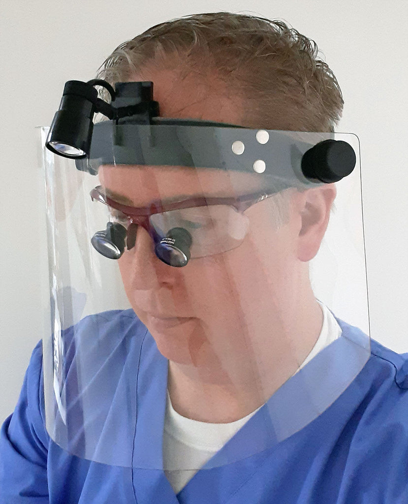 Economy Replacement Face Shield - 12 Pack - Shield Only - No Headband Included - Front View with Optional Dental / Surgical Loupes & Headlight