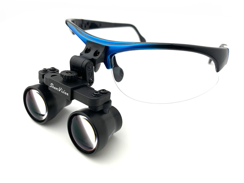 2.5x Classic Barrel SheerVision Brand Flip-Up Loupes - Del Rey Frame
