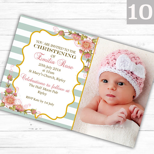 Vintage Floral Photo Christening or Baptism Invitations - CLCDesigns