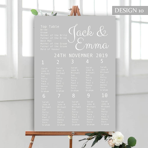 Modern Grey Wedding Seating Plan