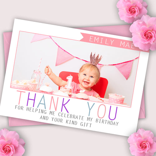 Girls Full Photo Thank You Cards - CLCDesigns