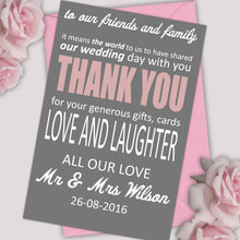 Load image into Gallery viewer, Personalised Text Wedding Thank You Cards - CLCDesigns