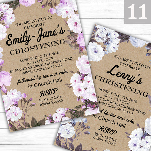 Vintage Rose Text Christening or Baptism Invitations - CLCDesigns