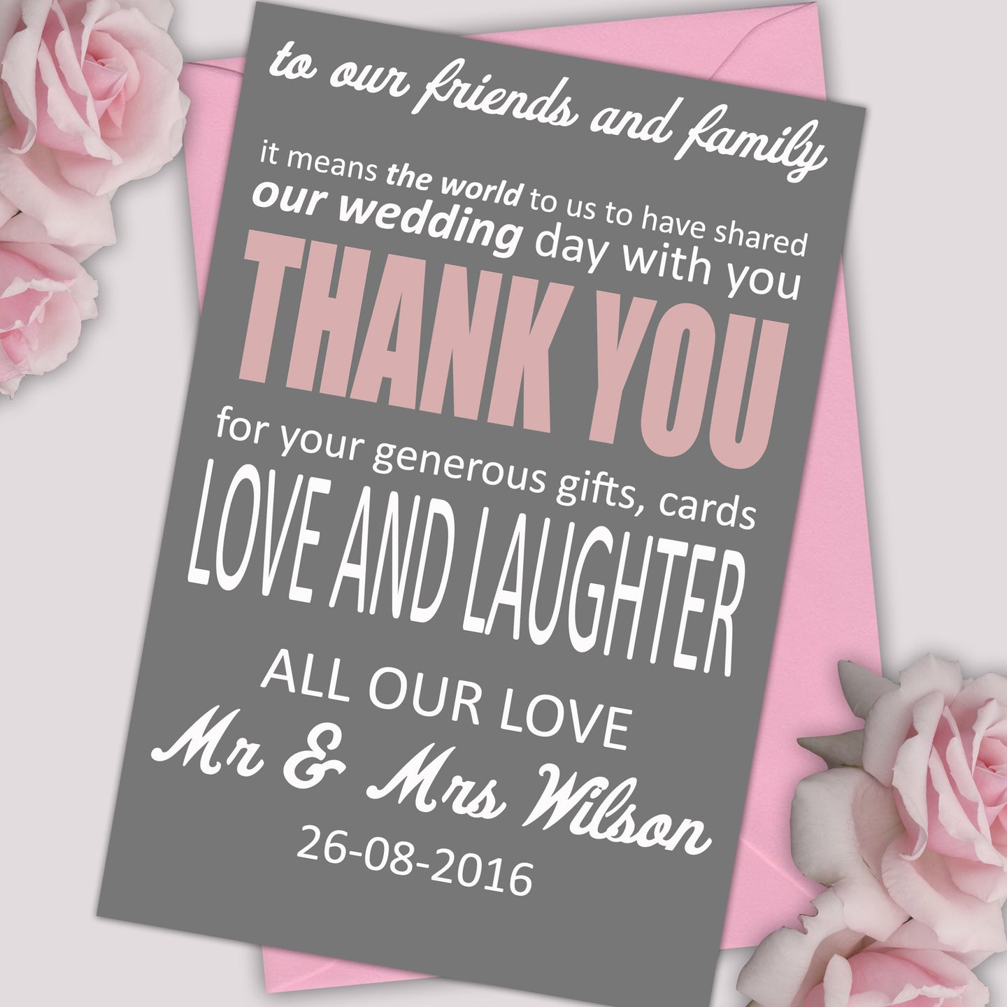 Personalised Text Wedding Thank You Cards - CLCDesigns
