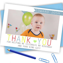 Load image into Gallery viewer, Boys Full Photo Thank You Cards - CLCDesigns