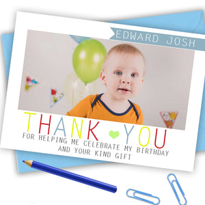 Boys Full Photo Thank You Cards - CLCDesigns
