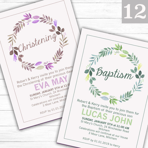 Floral Wreath Text Christening or Baptism Invitations - CLCDesigns
