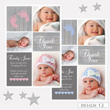 Load image into Gallery viewer, Multi Photo Birth Announcement Thank You Cards