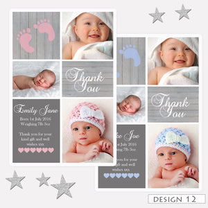 Multi Photo Birth Announcement Thank You Cards