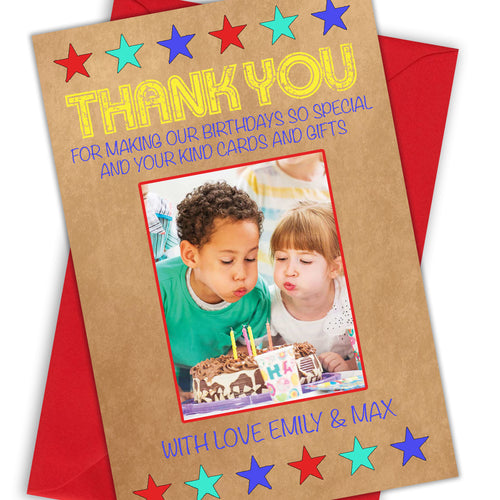Kraft Star Photo Thank You Cards - CLCDesigns