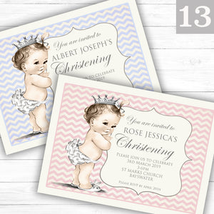 Vintage Baby Text Christening or Baptism Invitations - CLCDesigns