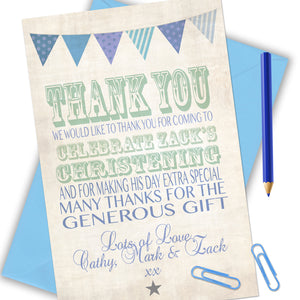 Vintage Text Boys Thank You Cards - CLCDesigns