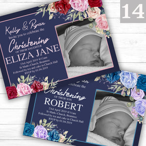 Antique Rose Christening or Baptism Invitations - CLCDesigns