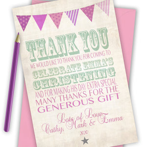 Vintage Text Girls Thank You Cards - CLCDesigns