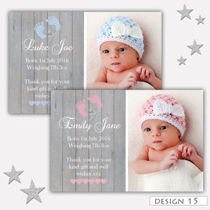 Full Photo Birth Announcement Thank You Cards