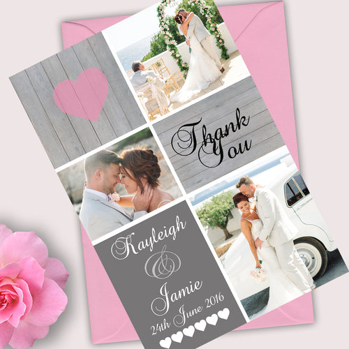 Photo Rustic Heart Wedding Thank You Cards - CLCDesigns