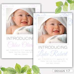 Photo Bunting Birth Announcement Thank You Cards