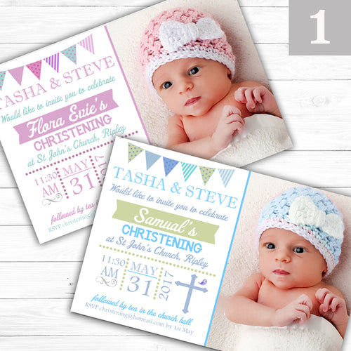 Bunting Christening or Baptism Invitations - CLCDesigns