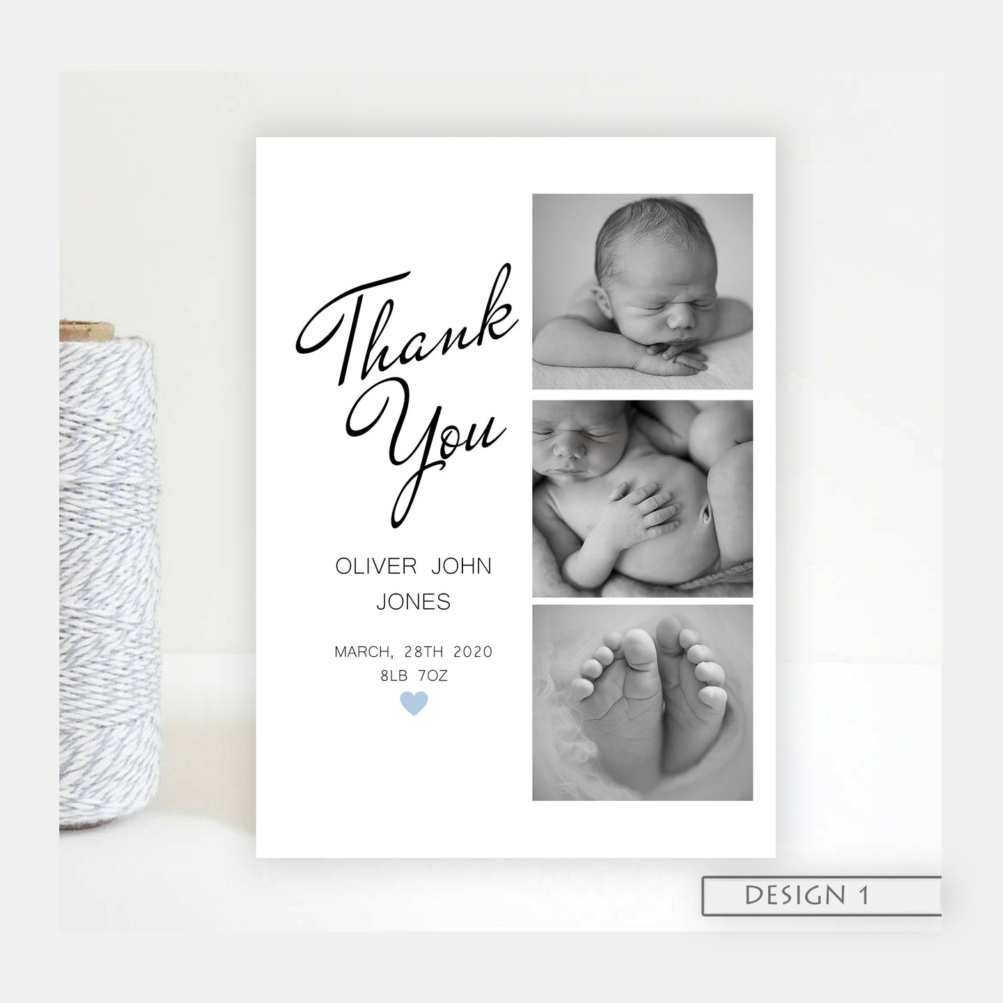 3 photo Birth Announcement Thank You Cards