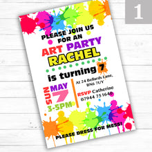 Load image into Gallery viewer, 'Art Party' Children's Birthday Party Invite - CLCDesigns
