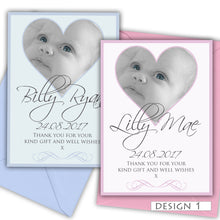 Load image into Gallery viewer, Heart Photo Birth Announcement Thank You Cards