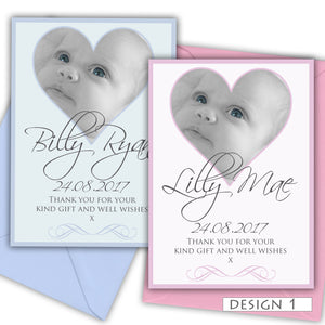 Heart Photo Birth Announcement Thank You Cards