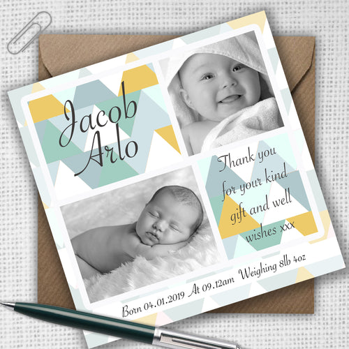 Retro Square Boy or Girl Baby Thank You Cards - CLCDesigns