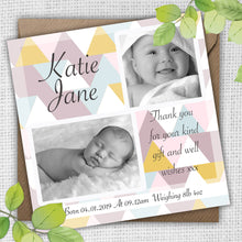 Load image into Gallery viewer, Retro Square Boy or Girl Baby Thank You Cards - CLCDesigns