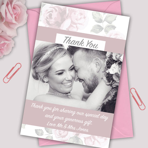 Blush Rose Photo Wedding Thank You Cards - CLCDesigns