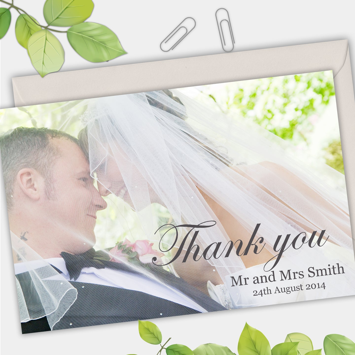 Full Photo Simple Wedding Thank You Cards - CLCDesigns