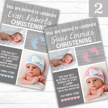 Load image into Gallery viewer, Foot Prints Christening or Baptism Invitations - CLCDesigns