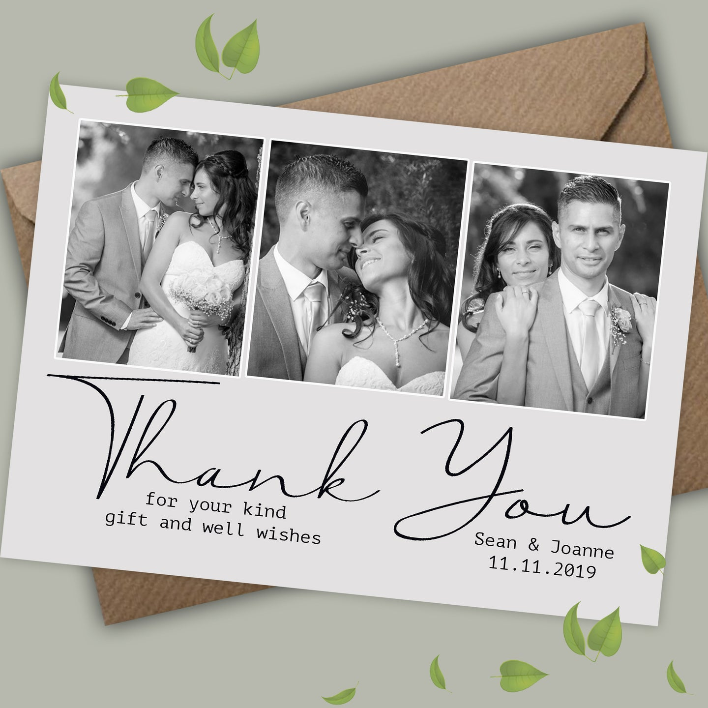 Photo Personalised Wedding Thank You Cards - CLCDesigns