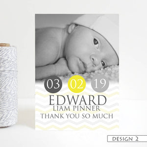 Classic Photo Announcement Thank You Cards
