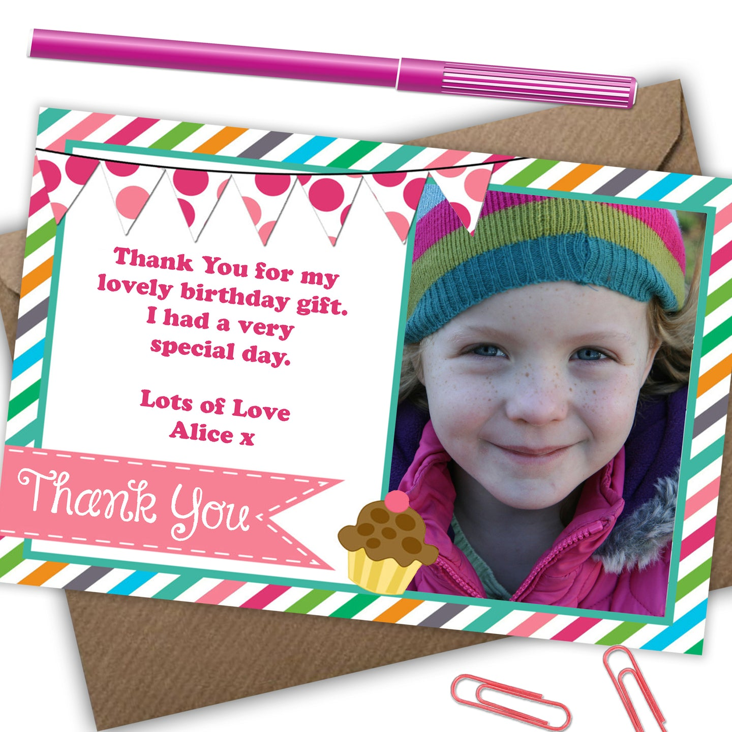 'Sweetie' Girls Thank You Cards - CLCDesigns