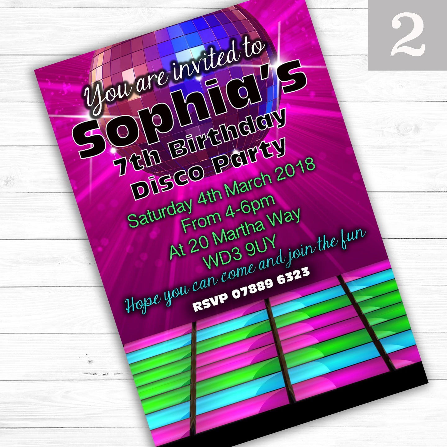 DISCO Children's Birthday Party Invite - CLCDesigns