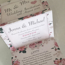 Load image into Gallery viewer, Vintage Rose Concertina Wedding Invites - CLCDesigns