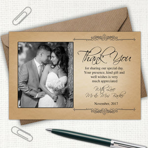 Rustic Photo Wedding Thank You Cards - CLCDesigns