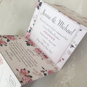 Vintage Rose Concertina Wedding Invites - CLCDesigns