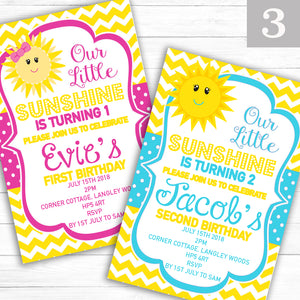 'Sunshine' Children's Boy or Girl Birthday Party Invite - CLCDesigns